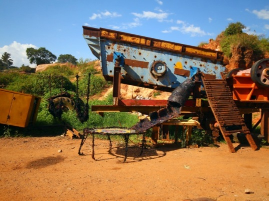 Daddy can I play?! installation view at Buziga stone quarry 2013. photo by Moses Serubiri